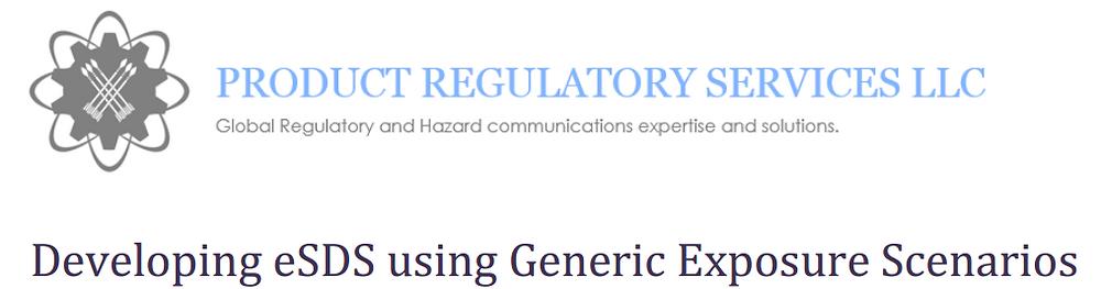 Developing eSDS using Generic Exposure Scenario: