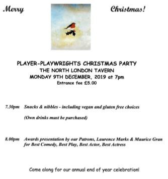 Awards ceremony and Xmas party - Monday 9December, 7.30pm