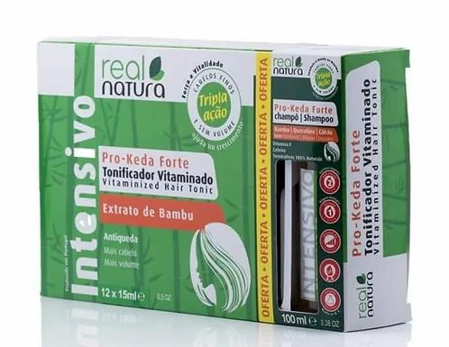 Real Natura Tonificador Vitaminado Pro-Keda Forte 12 x 15ml + Champô 100ml