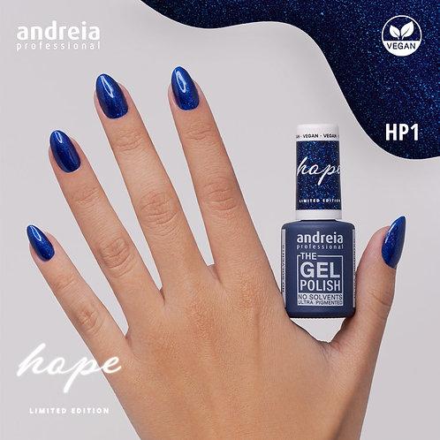 The Gel Polish Andreia Hope HP1 - Azul noite com glitter azul