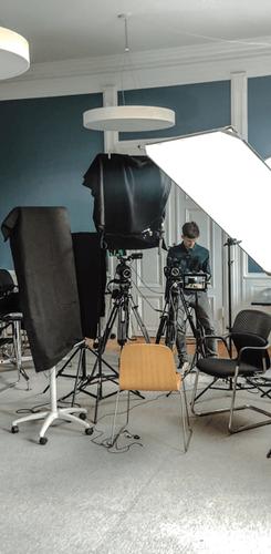 Interview setup backstage