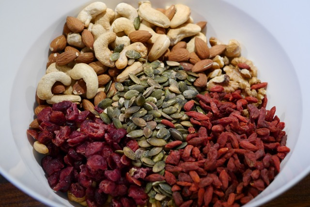 Mixed nuts ingredients in a bowl