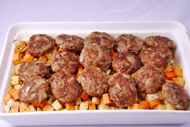 Place lamb meatballs on the bed of root vegetable