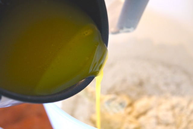 Add melted butter