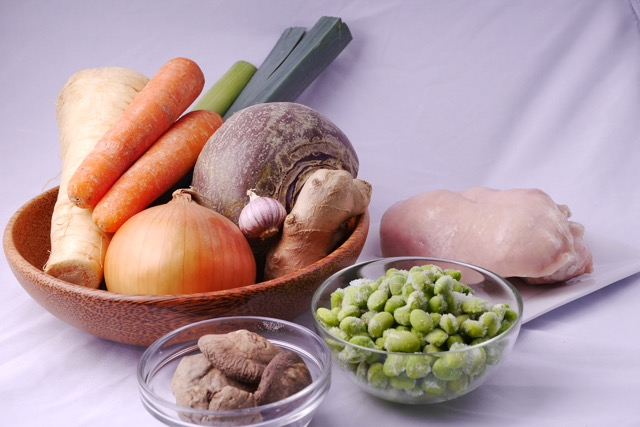 Chicken and ginger soup ingredients