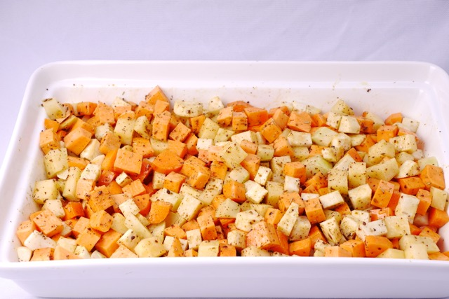 Root vegetable mixed with spices