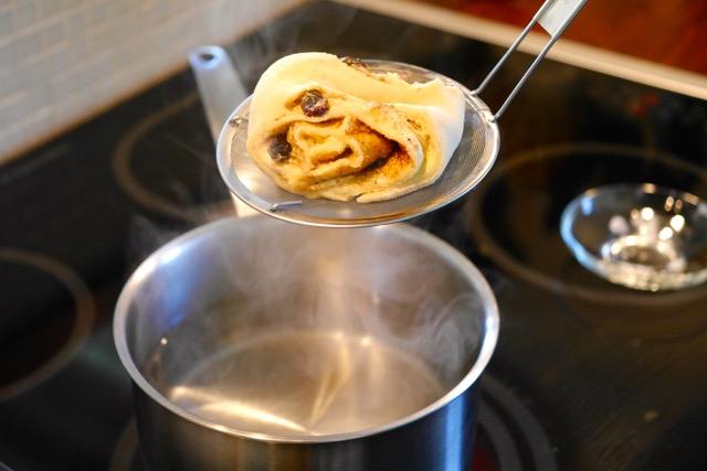Soak dough into baking soda water