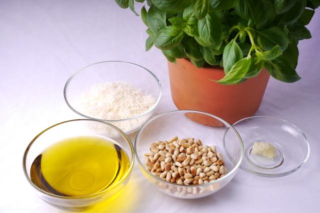 Pesto ingredients ready for mix