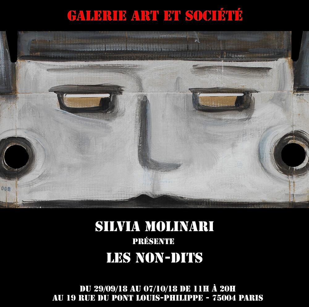 """prochaine expo de Silvia Molinari : """"Les Non-Dits"""" du 29 septembre au 07 octobre 2018 chez Art et Société 19 rue du Pont Louis Philippe"""
