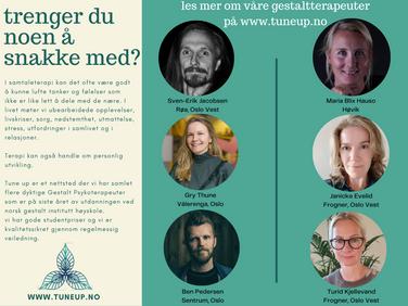 Sjekk ut våre flotte Gestaltterapeuter i Oslo!