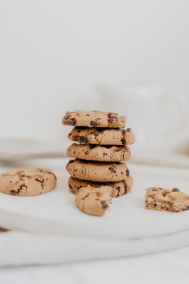 Piled chocolate chip cookies