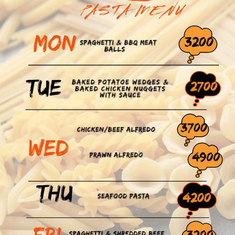 The Pasta menu