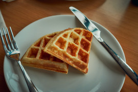 Golden brown Waffles: Where are my toppings???