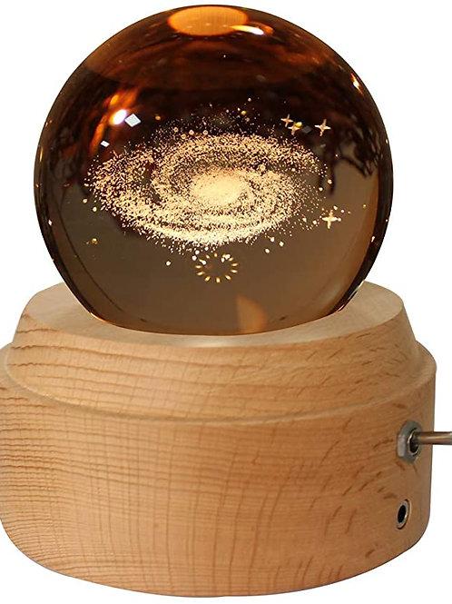3D Rotating Crystal Ball Music Box LED Luminous Glow w/Wood Base