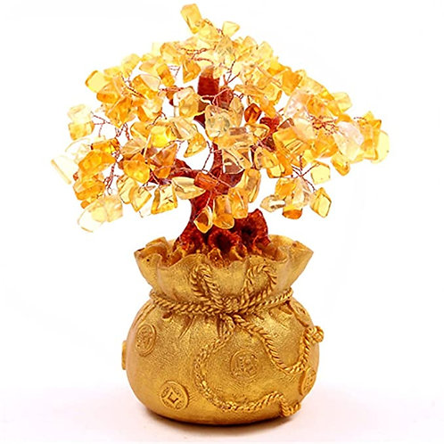 """7"""" Feng Shui Citrine/Yellow Crystal Money Tree in a Money Bag for Wealth Luck"""