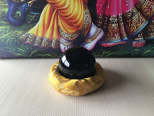 Small Black Obsidian Crystal Ball w/ silk cushion