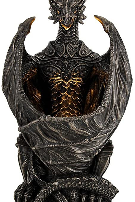 Resin Statues Guardian Of The Light Armored Dragon Led Night Light Statue 10 Inc