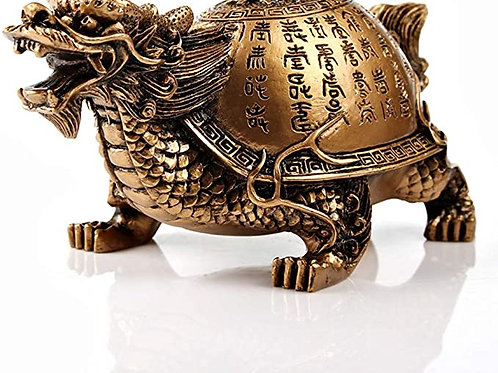 Feng Shui Resin Dragon Turtle with Scripture Statue