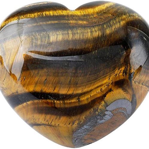 Healing Tiger's Eye Heart Love Crystal  Carved Palm Worry Stone Chakra Reiki Bal