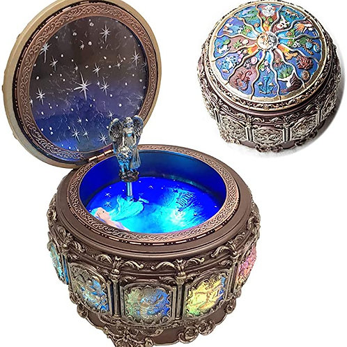 Vintage Music Box with Constellations Rotating Goddess LED Lights