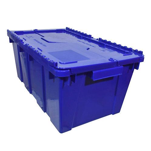 Caja de Plastico con Tapa Bisagras Chica Azul