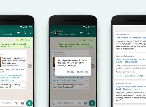 WhatsApp comienza a implementar la función de búsqueda en la web