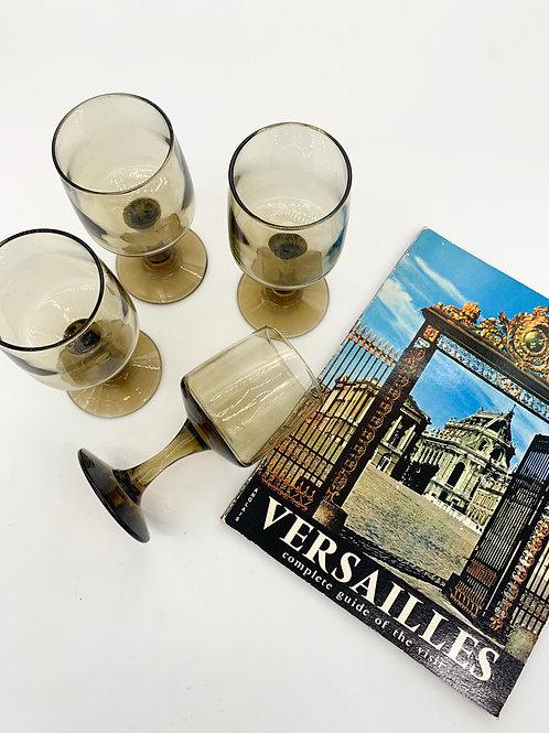 1970s Smoked Grey Wine Glasses
