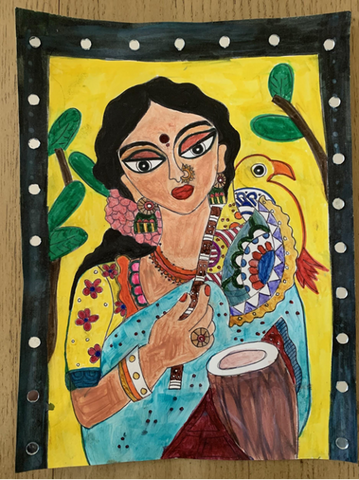 1st Prize - Madhubani Lady with Flute and Drum