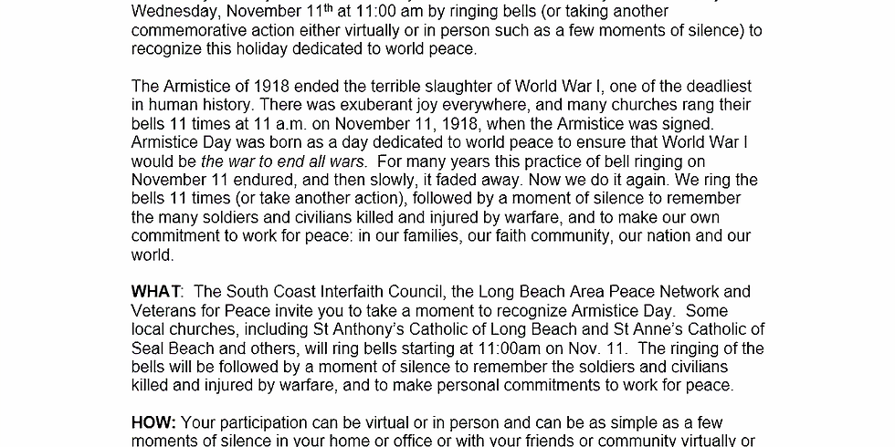 Armistice Day - a holiday dedicated to world peace