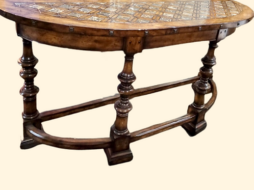 Maitland Smith Stone Top, Demilune Table
