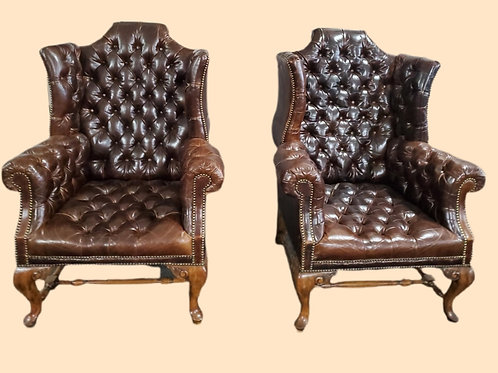 Pair of Maitland Smith Leather Tufted, Nailhead Chairs