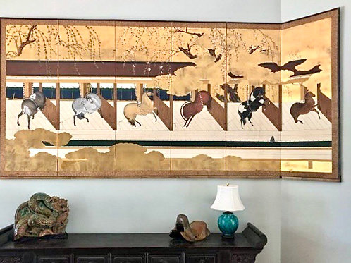 Mid 20th Century Japanese 6 Panel Horse Screen