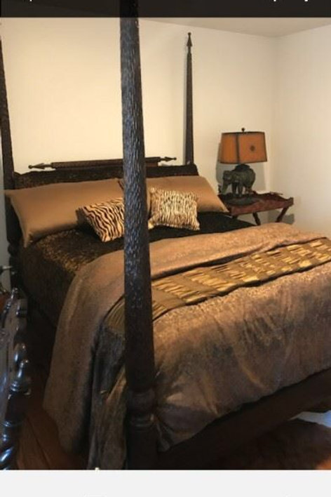Ebony Wood, Leather Backed King Size Bed, Imported From Africa