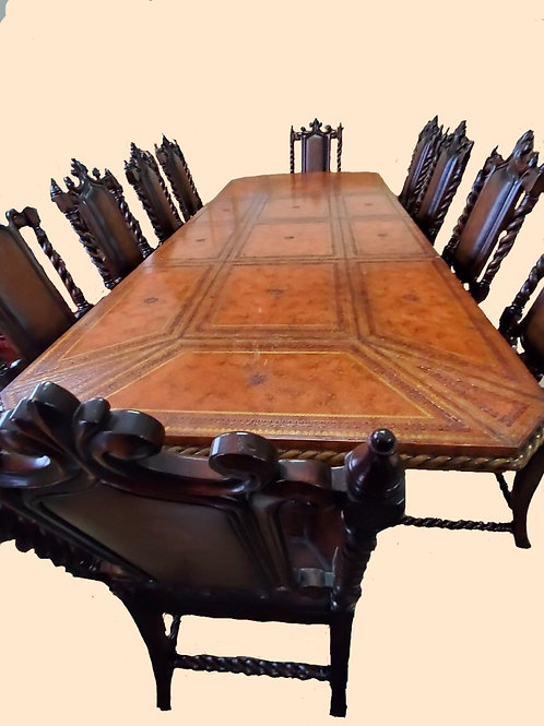 Tooled Leather Topped Dining Table and Chairs