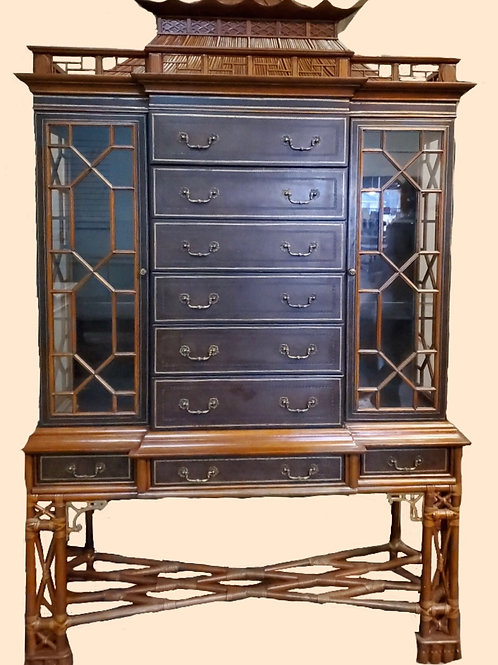 Maitland Smith Pagoda Topped, Rattan and Wood Chest
