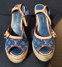 Louis Vuitton, Denim Blue Logo, Espadrille Wedge Sandals