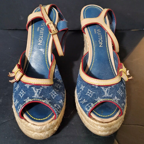 Louis Vuitton, Denim Blue Logo, Espadrille Wedge Sandals
