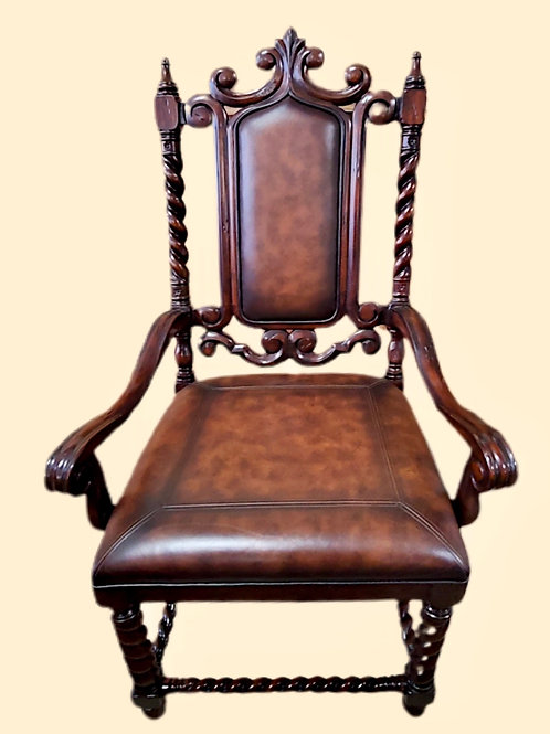 Carved Wood  and Leather Chairs, Set of 8