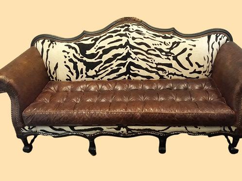 Zebra Back, Tufted Leather Accent Sofa