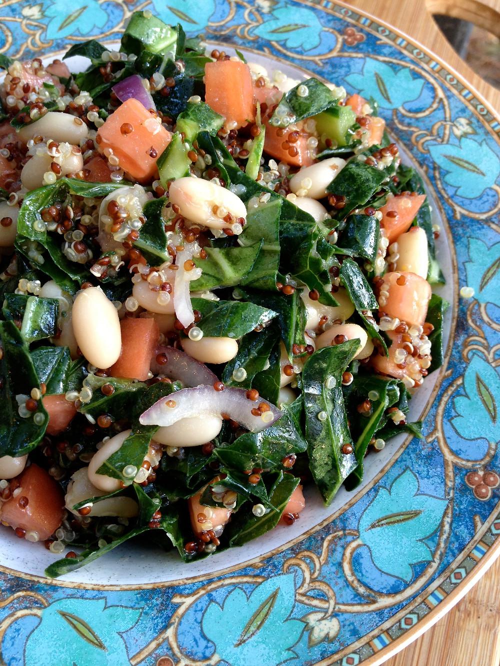 Collard Quinoa and cannellini bean salad