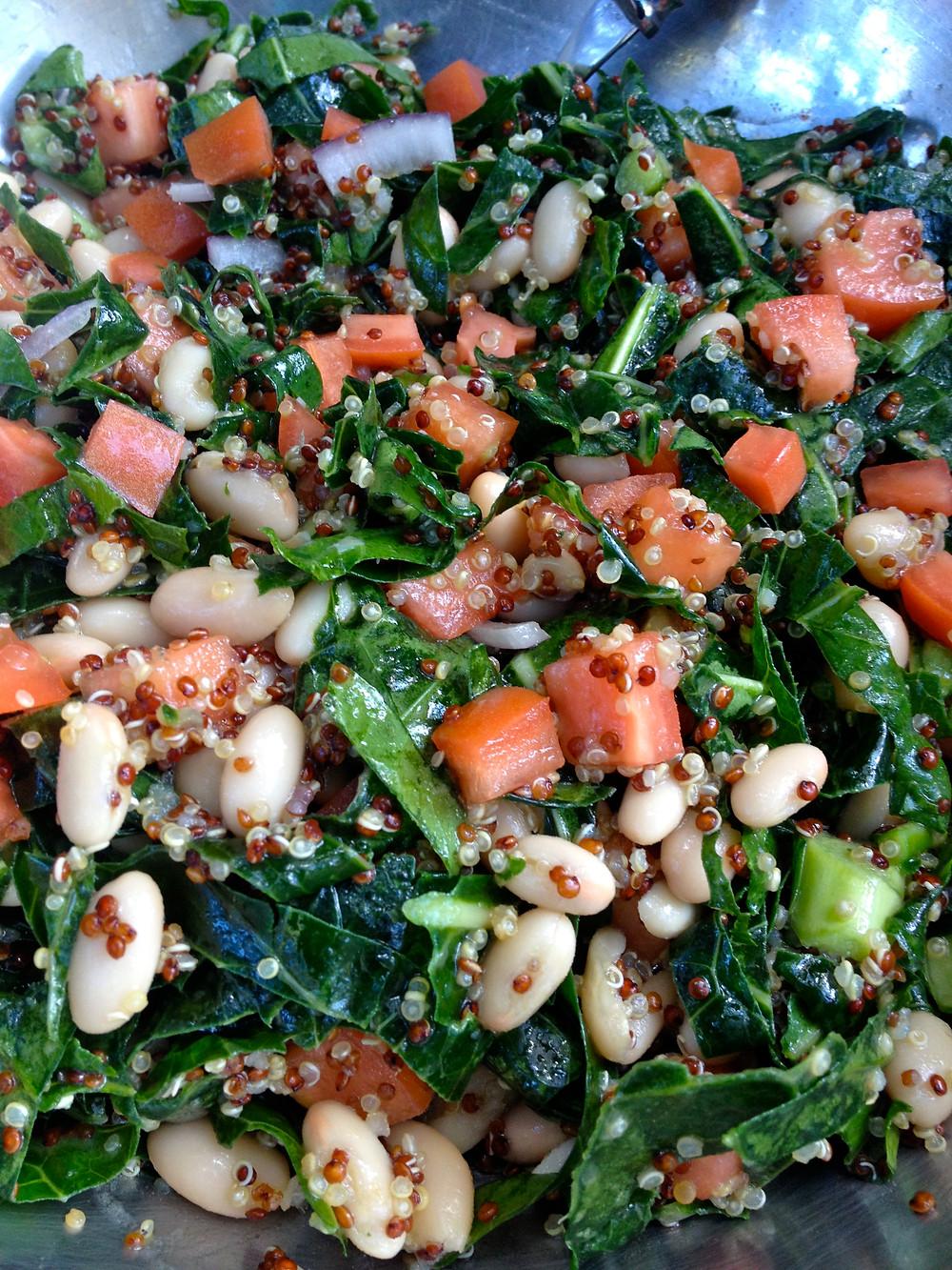 Collard quinoa and Cannellini Bean Salas