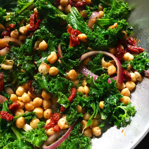 Warm Kale Chickpea Sun Dried Tomato Salad