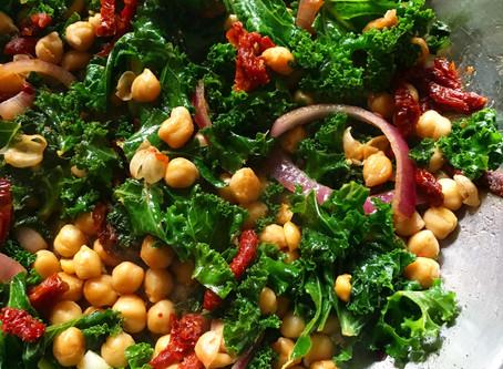 Warm Kale Chickpea Sun Dried Tomato Salad