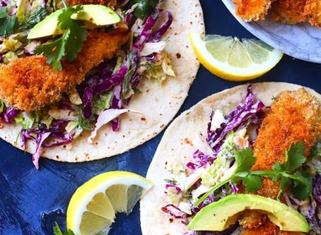 """Baja """"Fish"""" Eggplant Tacos"""