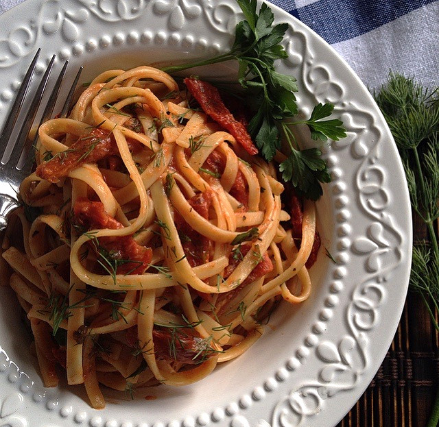 Gluten Free Pasta with Sun Dried Tomatoes & Dill