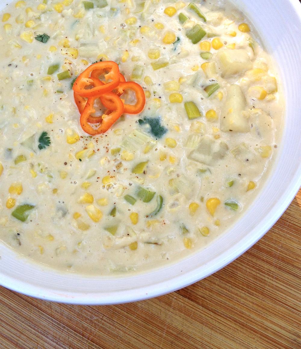 Creamy Corn Chowder with Leeks and Potatoes