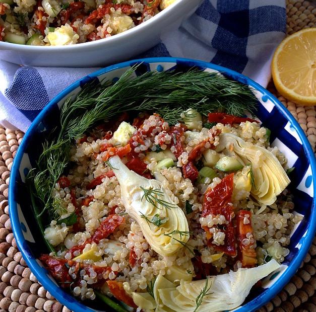 Quinoa Salad with Artichokes & Sun Dried Tomatoes