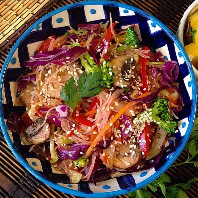 Asian Rainbow Noodle Bowl