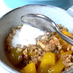 The BEST Gluten Free Peach Crumble!