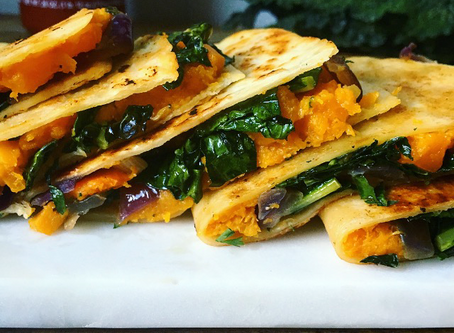 Butternut Squash Quesadillas with Kale & Red Onions